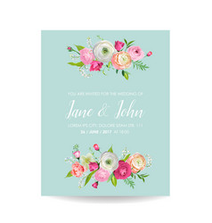 save the date card with blossom pink flowers vector image vector image
