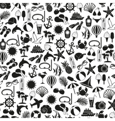 seamless pattern summer icons vector image