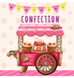 Truck with sweets holiday decoration vector image vector image