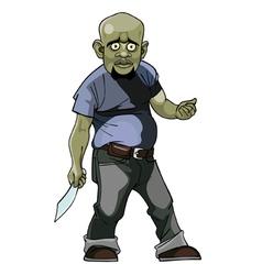 cartoon goblin man thug with a knife vector image vector image