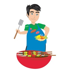 chef preparing a burger vector image vector image