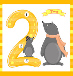 cute children flashcard number one tracing with 2 vector image