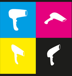 hair dryer sign white icon with isometric vector image vector image