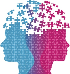 Man woman faces mind thought problem puzzle vector image