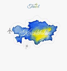 Travel around the world Kazakhstan Watercolor map vector image vector image