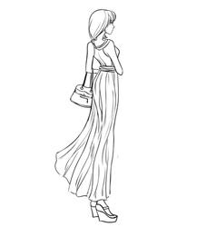 Beautiful girl in long elegant dress vector image vector image