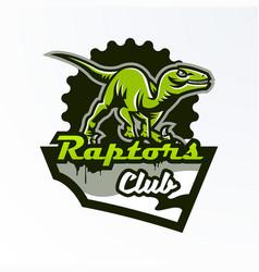 Emblem badge sticker dinosaur logo on the hunt vector
