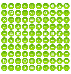 100 shipping icons set green circle vector