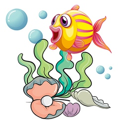 A colourful fish under the sea with shells vector image