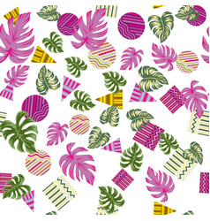 abstract geometric pattern tropical leaves vector image