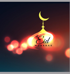 Awesome eid mubarak greeting with mosque top vector