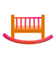 Baby crib icon cartoon style vector