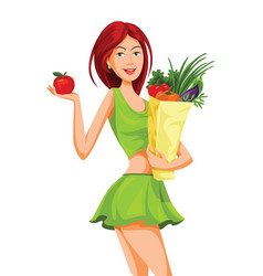 beautiful woman holding an apple and grocery bag vector image