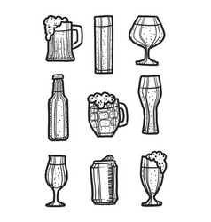 Beer icon set hand drawn style vector