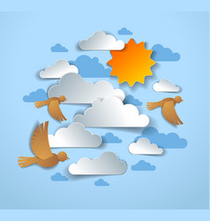 birds flock flying among beautiful clouds and sun vector image
