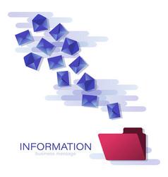 blue envelopes in flight messages vector image