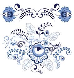 Blue floral ornaments vector
