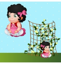 Brunette girl and flowers character in nature vector image