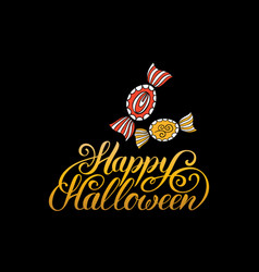 candy with happy halloween vector image