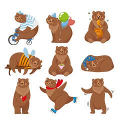 Cartoon bears happy bear grizzly eats honey vector