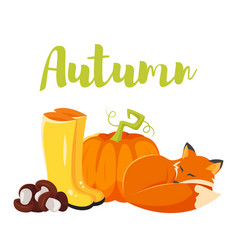 Cartoon style autumn background with fox pumpkin vector