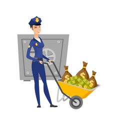 Caucasian police woman with confiscated money vector