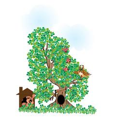 Children - silhouette a tree vector