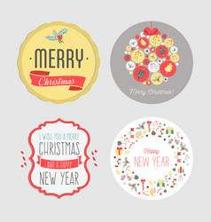 Christmas and new year stickers set vintage vector