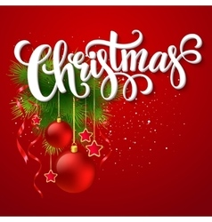Christmas lettering card with fir-tree branch vector