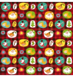 Christmas set wrapping paper plaid tartan pattern vector