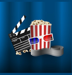cinema concept element film strip popcorn vector image
