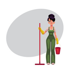 cleaning service girl charwoman cleaner in vector image