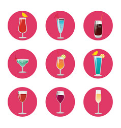 collection cocktails classical elite wine drink vector image