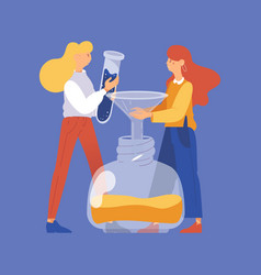 Concept scene with two girls making nail polish vector
