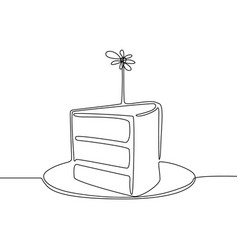 continuous line piece cake with candle vector image