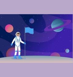 cosmonaut setting flag flat vector image