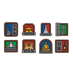 country badge collections set symbol of big vector image