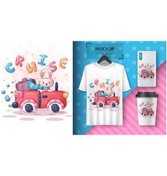 Cruise rabbit - poster and merchandising vector