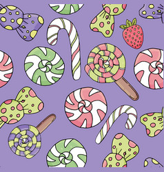 Cute candies and sweets with eyes icing and vector
