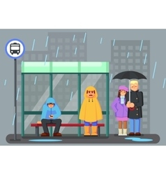 Cute Cartoon Characters with raincoat Umbrella vector
