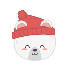 cute polar bear head animal merry christmas vector image