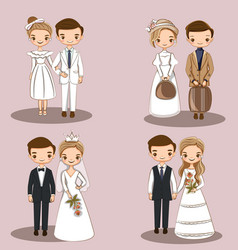 Cute wedding couple character collections set vector