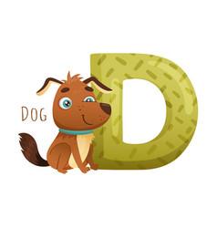 D letter and cute dog animal zoo alphabet vector