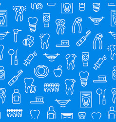 dental care tooth thin line seamless pattern vector image