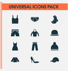 dress icons set collection of pants half-hose vector image