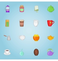 Drink icons set cartoon style vector image