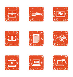 Financial capacity icons set grunge style vector