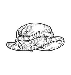 fisherman hat sketch engraving vector image