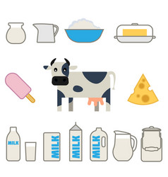 flat style milk products set vector image