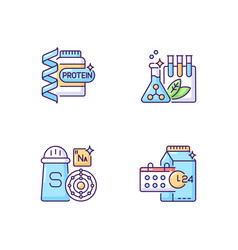 Food supplements rgb color icons set vector